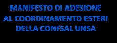 MANIFESTO DI ADESIONE AL COORDINAMENTO ESTERI DELLA CONFSAL UNSA
